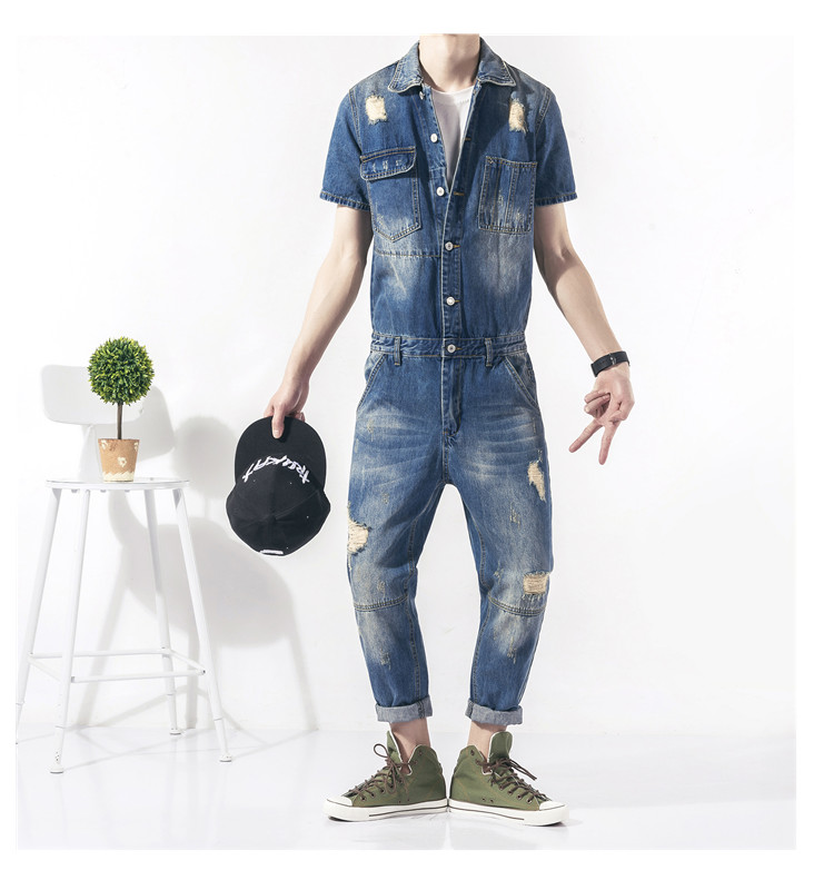 2017 New Mens denim overalls Men Casual Ankle-Length 9 pants Distressed jeans Jumpsuits for Men with Holes nine length pants