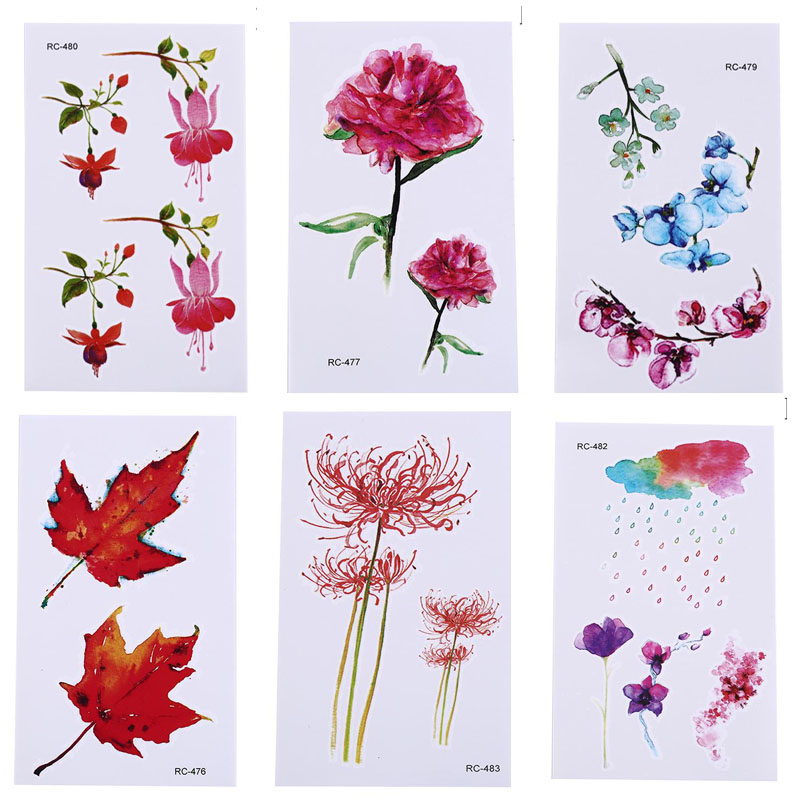 Hot 1PC New Waterproof Colorful Flower Leaves Tattoo Stickers Personality Fashion Women Girl Fresh Fake Stickers