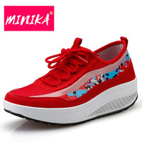 MINIKA Thick Bottom Women Casual Shoes Fashion Graffiti Lace Up Women Canvas Shoes Mesh Breathable Vulcanize