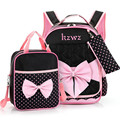 Beautiful Pink Bow Girl School Bag Set High Quality Nylon Waterproof Backpack Cute Girls Schoolbags Mochila Escolar