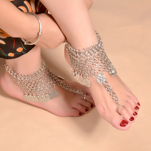 1PC Barefoot Sandals Summer Style Bohemian Gypsy Turkish Tribal Boho Silver Coin Anklet Ankle Bracelet Foot Chain Jewelry