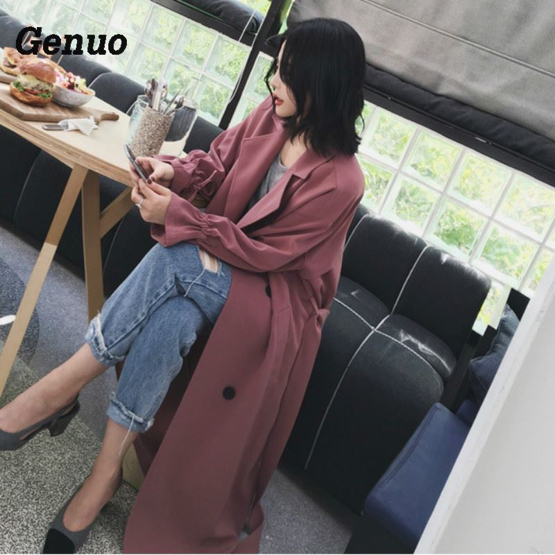 Genuo women 39 s spring autumn trench coat plus long suit collar casual oversize plus size adjustable waist overcoat for women in Trench from Women 39 s Clothing