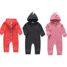 Newborn Baby Boy Girl 3D Dinosaur Costume Solid Pink Gray Black Rompers Warm Spring Autumn Cotton Jumpsuit Playsuit Clothes