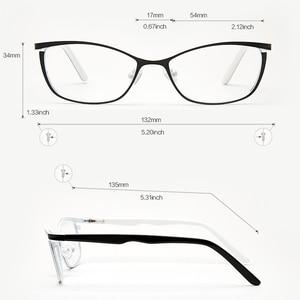 Image 3 - מתכת נשים עין חתול משקפיים מסגרות לנשים בציר משקפיים שקוף שחור ולבן משקפיים מסגרות # TWM7559C2