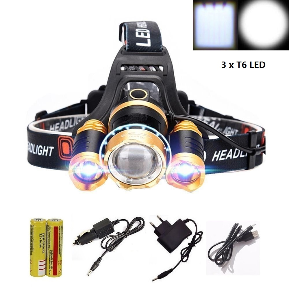 3 x T6 LED Zoom Waterproof 12000LM Headlamp Headlight Zoomable Head Lamp lighting Light Flashlight Torch +18650 battery+Charger t6 xpe led head lamp 50w zoomable headlamp 5leds headlight tube torch led flashlight car charger 18650 batteries high lights