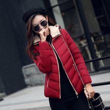 The Latest 2016Winter Women Detachable  Hooded Cotton-Padded Clothes High Quality Pure Color  Jacket Big Yards Slim S014 Fashion