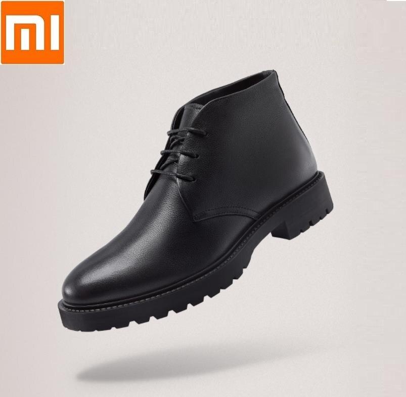 Nouveau Xiaomi Qimian hommes doux peau de vache laine Pad en cuir bottes en cuir épais doublure moelleuse contre le froid anti-dérapant Martin bottes