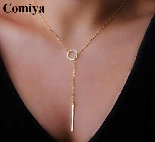 Comiya זהב צבע דק מתכוונן שרשרת פשוט שכבות שרשרת בר תליוני שרשראות חתונה כלה תכשיטי זרוק ספינה