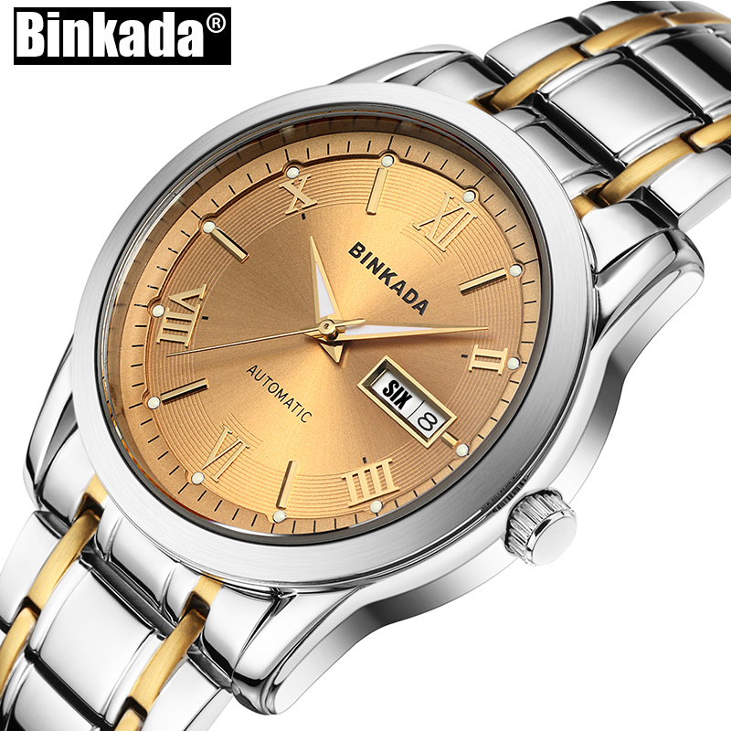 Business Automatic Mechanical Simple Mens Watch Top Brand Luxury Wrist watches New Fashion Men BINKADA Casual Watch Clock 2017 new fashion men binkada top brand gold luxury wristwatches self wind automatic mechanical calendar leather watch clock