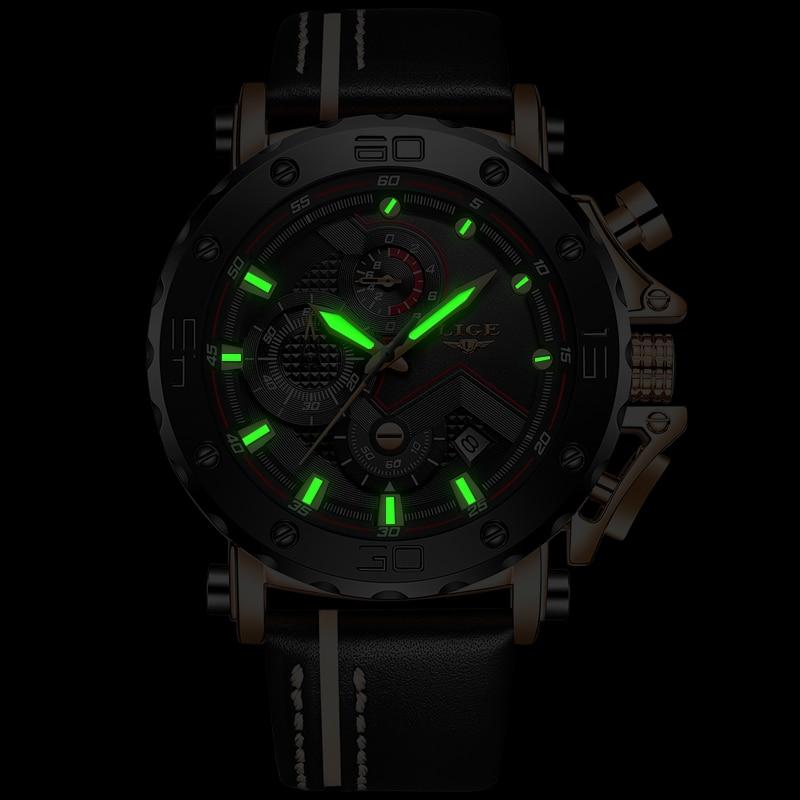 2020LIGE New Fashion Mens Watches Top Brand Luxury Big Dial Military Quartz Watch Leather Waterproof Sport Chronograph Watch Men 4