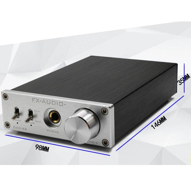 FX-AUDIO DAC-X6 HiFi 2.0 numérique décodeur Audio DAC entrée USB Coaxial sortie optique RCA casque amplificateur 16Bit 192 KHz DC12V
