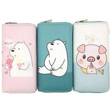 KANDRA Cute Kawaii Bear Pig New Womens  Wallet Pink Clutch Wallets Purse Money Coin Zip Around Card Purses Gift for Grils