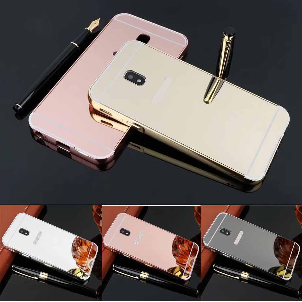 Mirror Effect Case for Samsung Galaxy J3 J5 J7 2017 J330 J530 J730 EU Version Plating Metal Frame+PC Protector Back Cover Capa