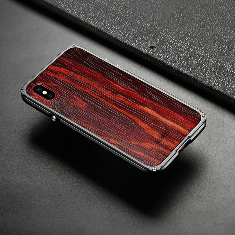 2018 Newest Showkoo Wooden Case For iPhone X Case Cover Natural Wood With Fiber+Metal Frame For iPhone X Wood Case Free Shipping