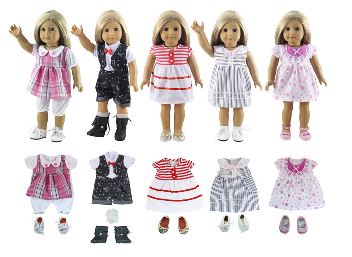 Lot 11 Item=5 Set Doll Clothes+5 Pair Shoes+1 Pair Socks for 18 Inch American Girl Doll Handmade Casual Wear Outfit new style 10 set doll clothes for 18 inch american girl handmade casual wear