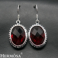 Mozambique Red Garnet Retro Charms Earring Hermosa Jewelry 925 Sterling Silver Faceted Oval Solid Earrings For