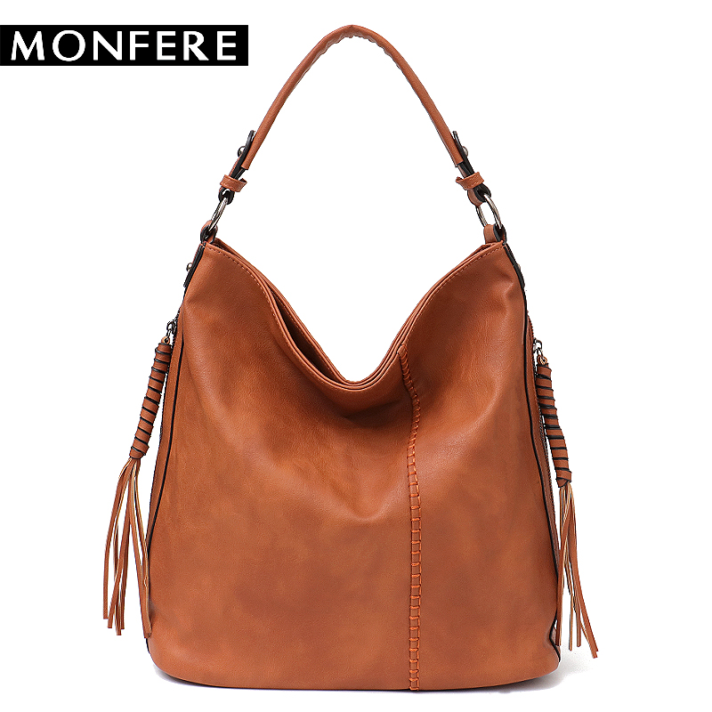 MONFERE Faux Leather Hobo Handbag Large Tote Women Daily Shoulder Bag Female Tassel Thread Top-handle Crossbody Ladies Bag 2018