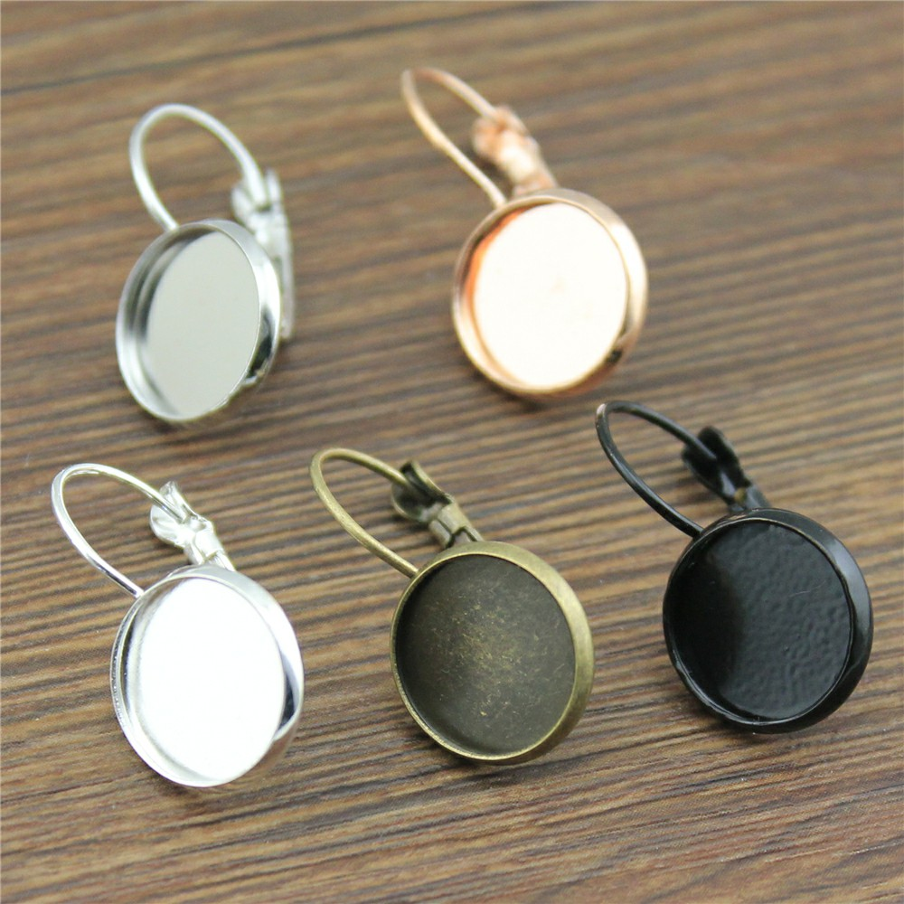 10pcs 9 Colors Fit 12mm Glass Cabochon High Quality Copper Material French Lever Back Earrings Base Bezels Jewelry Findings