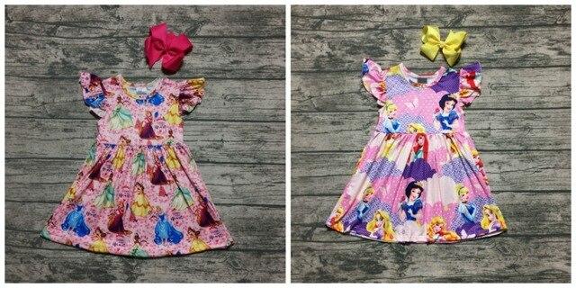 Новое поступление, летнее розовое Эксклюзивное платье принцессы с оборками для девочек, детская одежда из молочного шелка, Весенняя детская одежда с бантом до колена