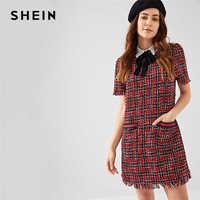 SHEIN マルチカラープレッピースタイルネクタイネック擦り切れエッジツイードチェック柄パフスリーブ Highstreet 2018 夏エレガントなキャンパス女性ドレス