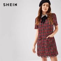 SHEIN Multicolor Preppy Tie Neck Frayed Edge Tweed Plaid Puff Sleeve Highstreet Dress 2018 Summer Elegant Campus Women Dresses