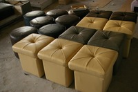Unique Designer Post Modern Style Top Graded Cow Real Leather Ottoman Stool Living Room Rectangle Genuine