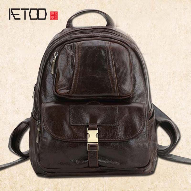 AETOO Shoulder bag leather bags manufacturers wholesale fashion leisure first layer of cowhide female backpack aetoo casual fashion shoulder bag leather new female package first layer of leather bags simple temperament leisure travel packa