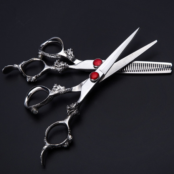 Custom Upscale professional 440c 6 inch dragon cutting barber makas thinning cut hair scissor shears hairdressing scissors set