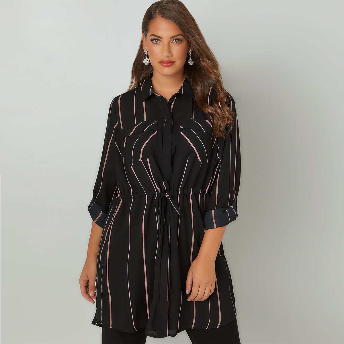 MCO 2018 Spring Simple Tie Waist Plus Size OL Stripe Shirt Casual Oversize Long Office Ladies Blouse Basic Big Women Top 6xl 7xl 1