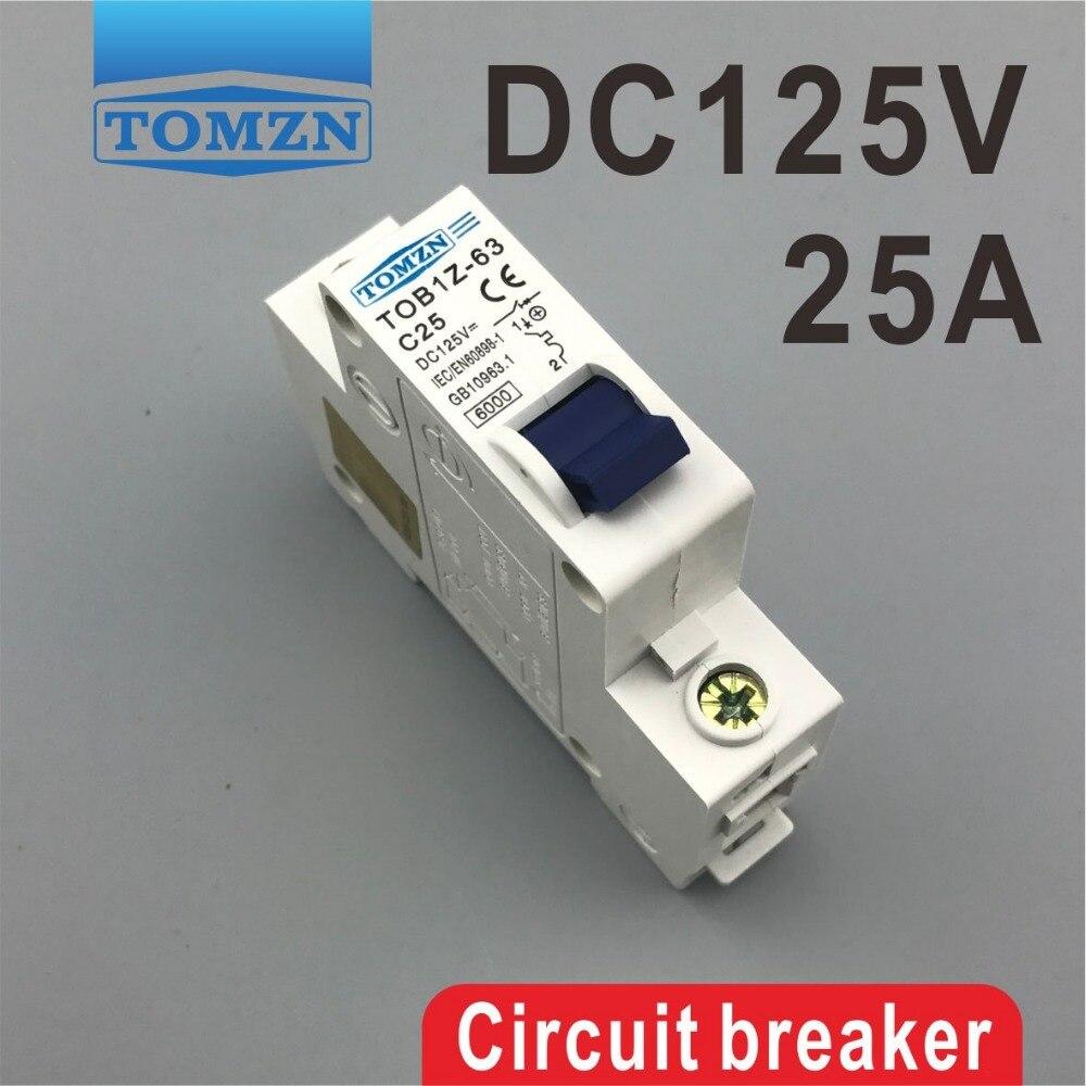 1 P 25A 25 ampere TOB1Z DC 125 V interruttore Mcb corrente continua1 P 25A 25 ampere TOB1Z DC 125 V interruttore Mcb corrente continua
