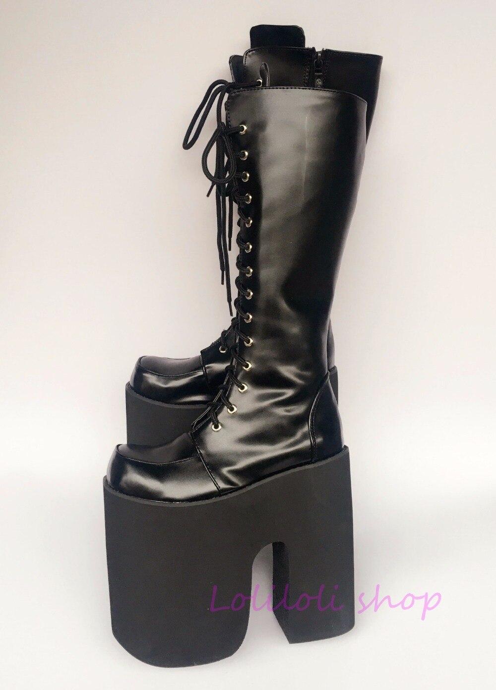 Princess sweet lolita shoes loliloli yoyo Japanese design custom big size cool bright skin Black lace-up knee-high boots 9712