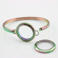 Rainbow Stainless Steel Floating Locket Bangles Round Screw Plain Living Bracelets For Women