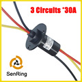 Wind generator slip rings 30A current 3 circuits OD 22mm with flange