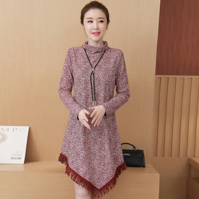 Vintage Women Dress Elegant Plus size Dress Tassel ini Dresses Ladies Autumn Fashion Long sleeve Dresses Women Loose Vestidos