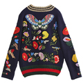 New Fashion Women Sweaters 2016 Runway European Designer Embroidery party style Women's Clothing