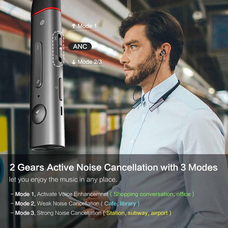 1 więcej aktywne redukcji szumów ANC podwójny sterownik bezprzewodowy zestaw słuchawkowy Bluetooth 4.2 słuchawki typu C szybkie ładowanie z pałąkiem na kark szary-srebrny