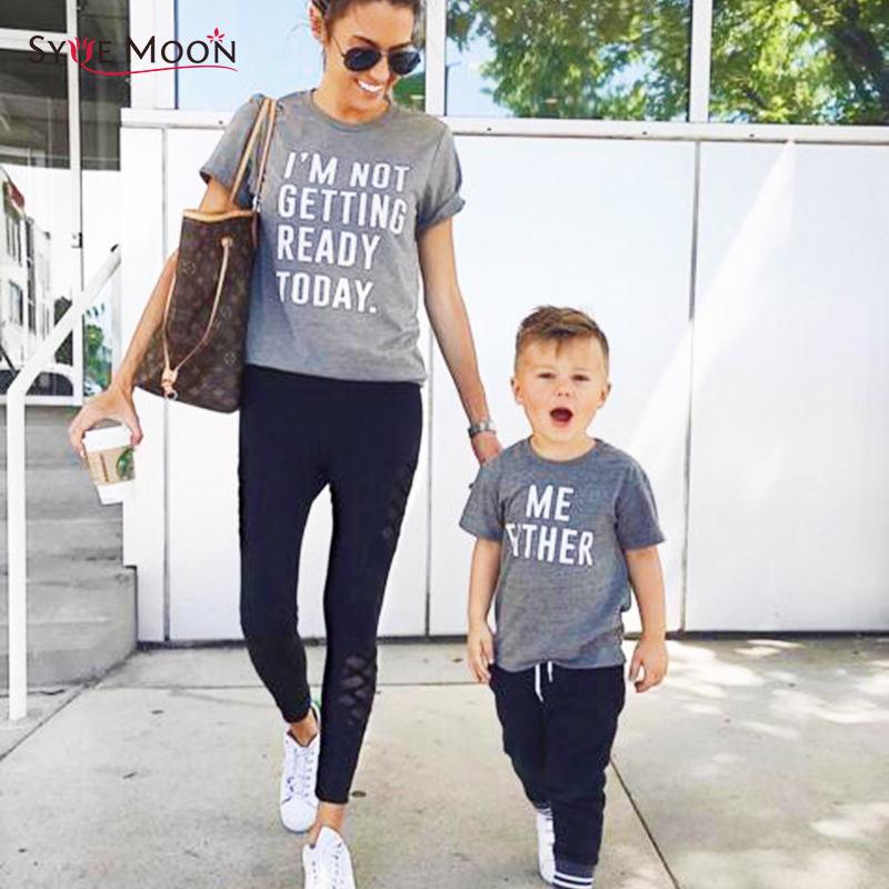 Summer Mother Daughter Son T Shirts Family Matching Letter Print Clothes Mom Girls Boys Cotton T Shirts Family Tops Tees ...