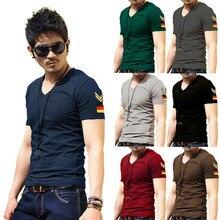 Military Style V-neck T Shirt