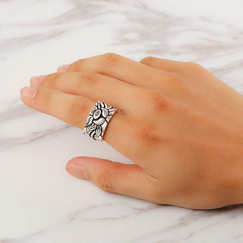 Lotus Heart Sutra Wide Face Ring Opening Rings Male Domineering Retro For Men Women