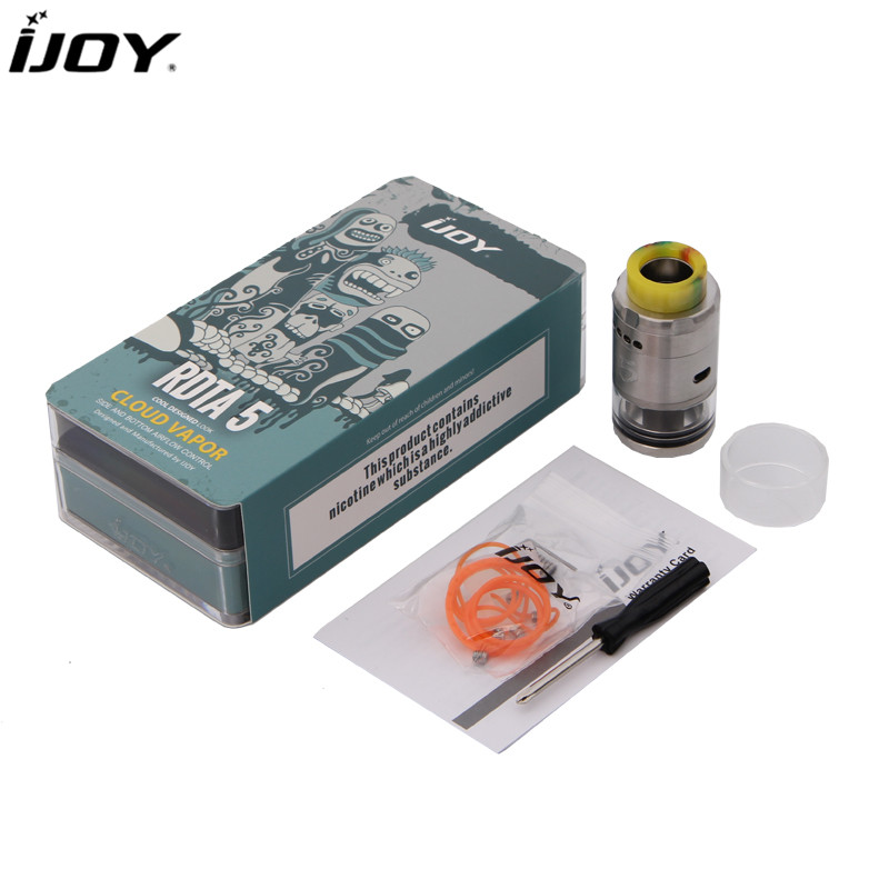 100% Original IJOY RDTA 5 Tank 4ML Resin Drip Tip Single oil Build DIY E-Cigarettes Atomizer For Box MOD