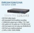 Dahua 8ch 16ch D1 1U цифровой видеорегистратор H.264 видеонаблюдения DVR реального времени поддержка 2 SATA HDD DVR5208A DVR5216A