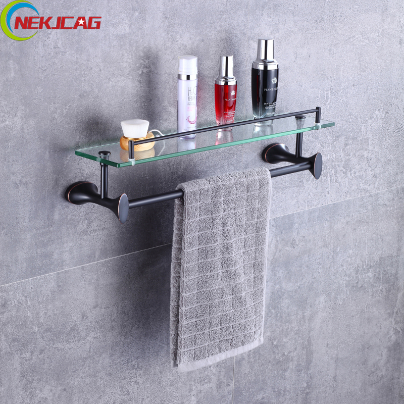 Two Tiers Bathroom Towel Rack, Bath Towel Holder Rack with Glass Shelf Wall Mounted Tower Bar with Hooks black space aluminum wall mounted foldable bathroom towel rack holders shower towel rack shelf bar with hooks