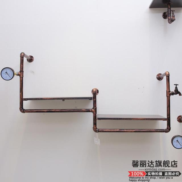 Retro iron pipe coat rack clothing store shelf hanging rod side wall