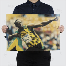 Free shipping, Usain Bolt A/sprinter/Olympic champion/runner/kraft paper/bar poster/Retro Poster/decorative painting 51x35.5cm