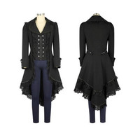 BOOCRE Women Costumes Gothic Middle Ages Steampunk Restore Ancient Ways Swallow Tailed Coat Women Coat