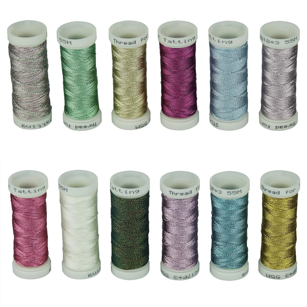 3-Ply Metallic Tatting Yarn For Shuttle Tatting Decorative Jewelry Ornaments Lace Design 50 Meters Each Color