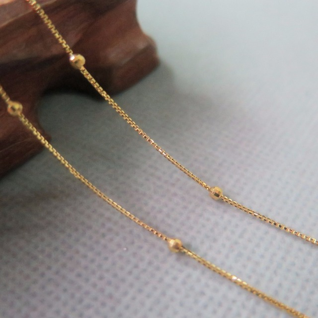 Real Au750 18k Yellow Gold Chain Luck 2.4mmW Box & Beads Link Necklace 16.5 3
