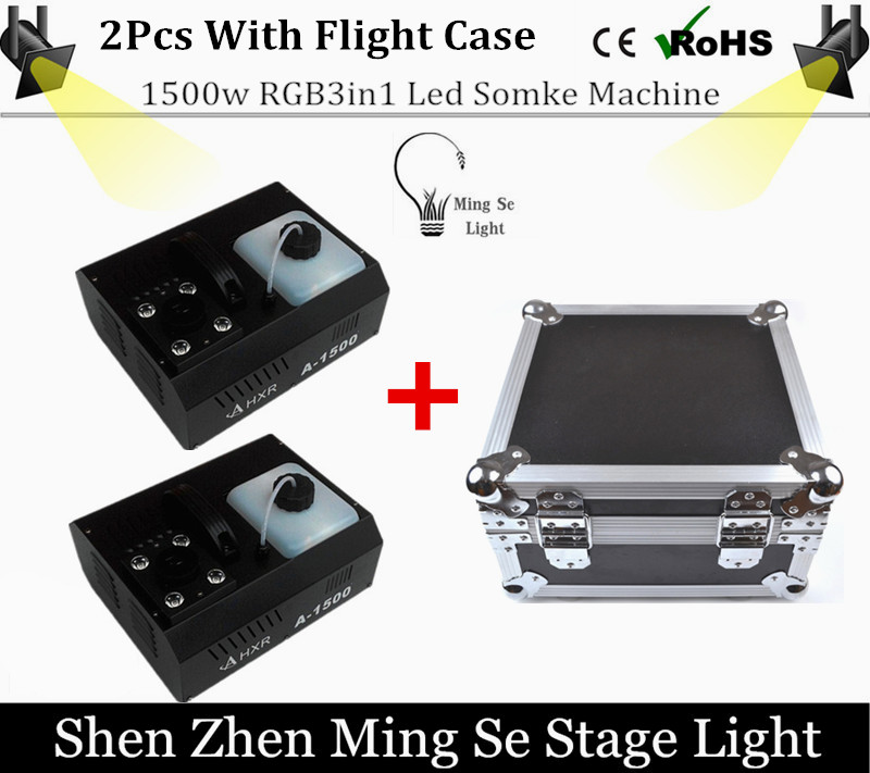 2pcs RBG 3in1 Led  fog machine with Flight Case remote control 1500W smoke machine professional DJ lighting equipment naza m v2 flight control