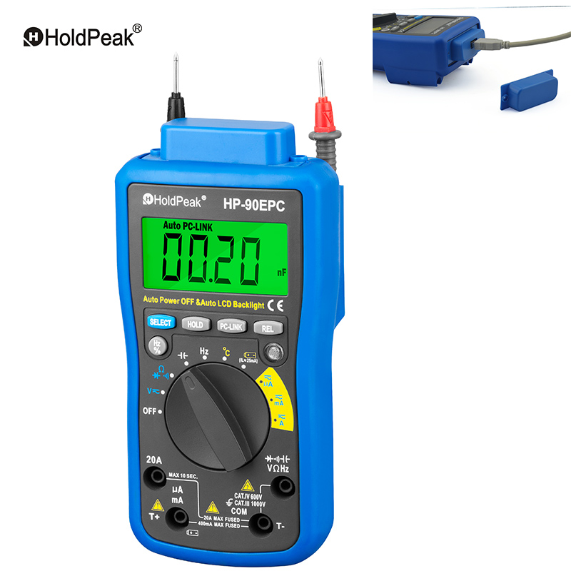 HoldPeak HP-90epc Multimetro Digital USB Multimeter DMM Auto Range Tester LCD Ammeter Capacitance Meter PC Data Transmission mastech ms8226 handheld rs232 auto range lcd digital multimeter dmm capacitance frequency temperature tester meters