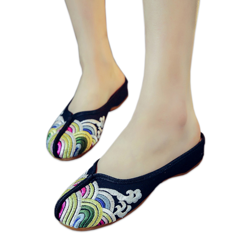 Summer waves embroidery women slippers shoes casual black sexy mules home flip flops sandals women Chinese shoes fashion slides